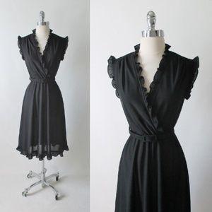 Vintage 70's Black Ruffle Dress M